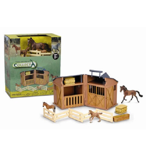 Folding Barn With Accessories & 3 Horses