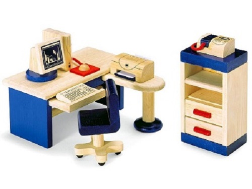 Pin Toys Wooden Dollhouse Furniture - Study