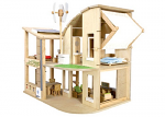 Plan Toys Dollhouse - Green Dollhouse With Furniture